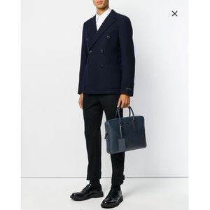 Prada navy saffiano briefcase